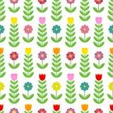 Schönes Muster von Tulpen und von Blumen Stockbild