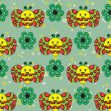 Schönes nahtloses Muster mit Bienen und grünen Blumen Stockfotografie