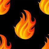 Schönes nahtloses Muster mit Flammen des Feuers Stockbild