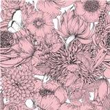 Schönes nahtloses Muster mit Florenelemente des Weinlesegartens Lizenzfreie Stockfotografie