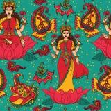 Schönes nahtloses Muster mit indischer Göttin Lakshmi und Paisley-Verzierung stock abbildung