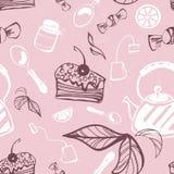 Schönes nahtloses Muster mit Kuchen, Süßigkeit, Stau, Tee, Teebeutel, vektor abbildung