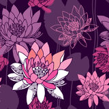 Schönes nahtloses Muster mit Seerosen Stockbild