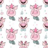 Schönes nahtloses Muster von netten Schweinen mit Hüten lizenzfreie abbildung