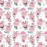 Schönes nahtloses Muster von netten Schweinen mit Hüten vektor abbildung