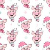 Schönes nahtloses Muster von netten Schweinen mit Hüten stock abbildung