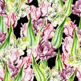 Schönes nahtloses Muster von rosa und purpurroten Tulpen Stockbild
