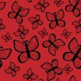 Schönes nahtloses Schmetterlingsmuster in den schwarzen und roten Farben lizenzfreie abbildung