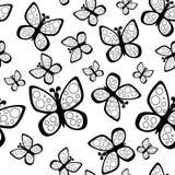 Schönes nahtloses Schmetterlingsmuster in den Schwarzweiss-Farben vektor abbildung