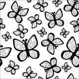 Schönes nahtloses Schmetterlingsmuster in den Schwarzweiss-Farben lizenzfreie abbildung
