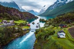 Schönes Natur-Norwegen-Luftbildfotografie Stockbild