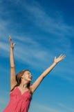 Schönes nettes Frauenfrühlingsfeld Lizenzfreie Stockbilder