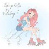 Schönes, nettes Mädchensitzen und Bindungsspitzee auf Rollschuhen stock abbildung