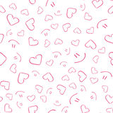 Schönes nettes nahtloses Muster mit Herzen und Lächeln Ununterbrochenes Muster, Hintergrund für den Druck Vektor in der flachen A Stockfotos