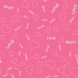 Schönes nettes nahtloses Muster mit Herzen und Text Ununterbrochenes Muster, Hintergrund für den Druck Vektor in der flachen Art Lizenzfreies Stockfoto