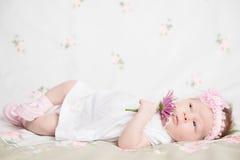 Schönes neugeborenes Mädchen, das eine Blume hält Stockfotos