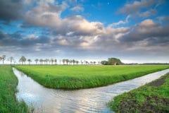 Schönes niederländisches Ackerland mit blauem Himmel Stockfoto