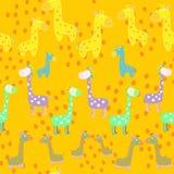 Schönes orange Muster mit Giraffen Stockfotografie