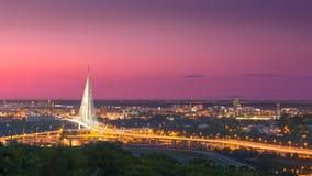 Schönes Panorama von Belgrad-Stadt an der Dämmerung Lizenzfreie Stockbilder