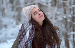 Schönes Porträt des jungen Mädchens mit Schal, frohe vorbildliche Kälte im Winterpark Glücklich, die Natur genießend lizenzfreie stockfotografie
