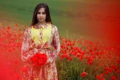 Schönes Porträt einer jungen langen braunen behaarten Frau, gekleidet in einem Blumenkleid, stehend auf einem roten Mohnblumengeb stockbild