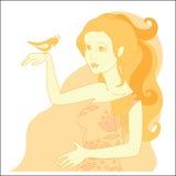 Schönes Redheadmädchen und -vogel Lizenzfreies Stockbild