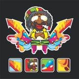 Schönes Reggaelied mit den Zeichen und der Ikone lizenzfreie abbildung