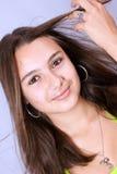 Schönes reizvolles Mädchen mit dem langen Haar. lizenzfreies stockbild