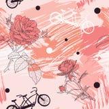 Schönes romantisches nahtloses Muster mit Fahrrädern Tandem, Rosen und Punkte auf abstraktem Aquarell befleckt lizenzfreie abbildung