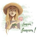 Schönes romantisches Sommermädchen in einem Strohhut mit einer köstlichen Blumenpfingstrose Lizenzfreie Stockbilder