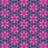 Schönes rosa symmetrisches mit Blumenmuster in einem blauen Hintergrund vektor abbildung