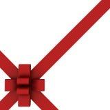 Schönes rotes Farbband und Bogen getrennt auf Weiß Stockfoto