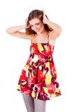 Schönes süßes junges Mädchen im Kleid lizenzfreies stockbild