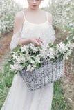 Schönes süßes leichtes glückliches Mädchen in einem beige Boudoirkleid mit Blumen in einer Korbholding, Foto, das im Stil Umb. ve Lizenzfreie Stockfotos
