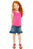 Schönes schüchternes Redhead-Schule-Mädchen über Weiß Lizenzfreie Stockbilder