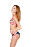 Schönes schlankes Mädchen im Badeanzug Lizenzfreies Stockbild