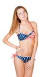 Schönes schlankes Mädchen im Badeanzug Lizenzfreies Stockfoto