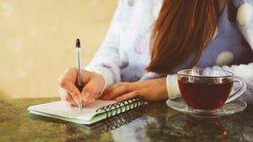 Schönes Schreiben der jungen Frau in der Zeitschrift stock video footage