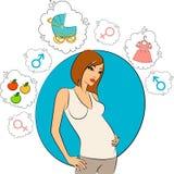Schönes schwangeres Mädchen. vektor abbildung