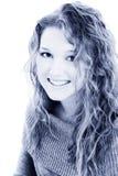 Schönes sechzehn Einjahresjugendlich Mädchen in den blauen Tönen stockbilder