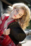 Schönes sexy blondes Cowgirl Stockbild