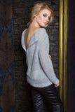 Schönes sexy Mädchen mit dem blonden Haar mit hellem Make-up smokey Auge demonstriert Jackenkleidung für den Katalog Stockbilder