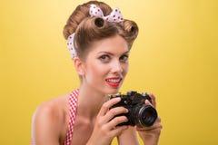 Schönes sexy Mädchen mit dem hübschen Lächelntragen Stockbild