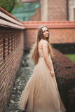 Schönes sexy Mädchen mit langer perfekter Form des Haares und des Kleides bräunte den Körper, der nahe Wand possing ist Stockfotografie