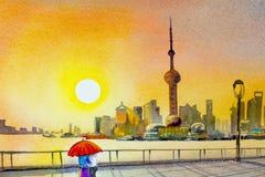 Schönes Shanghai, in China vektor abbildung