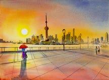 Schönes Shanghai, in China Adobe Photoshop für Korrekturen stock abbildung