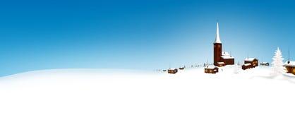 Schönes Snowy-Bergdorf-Winter-Landschaftspanorama mit stock abbildung