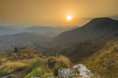 Schönes Sonnenuntergangansicht valey von Bandipur Nepal stockbild