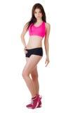 Schönes sportliches Mädchen lokalisiert auf weißem Hintergrund Lizenzfreies Stockbild