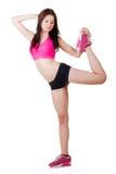 Schönes sportliches Mädchen lokalisiert auf weißem Hintergrund Lizenzfreie Stockfotografie